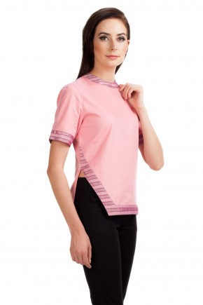 Knox Striped Blouse In Pink