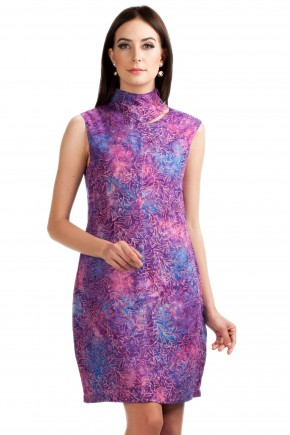 Vivid Dress in Purple Pink Print
