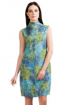 Vivid Dress in Blue Green Print