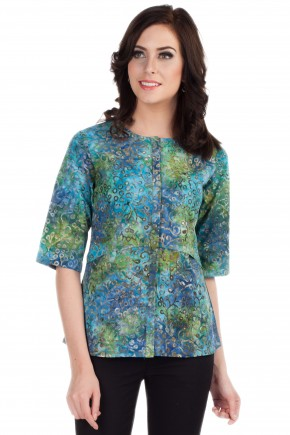 Orla Blouse in Blue-Green Print