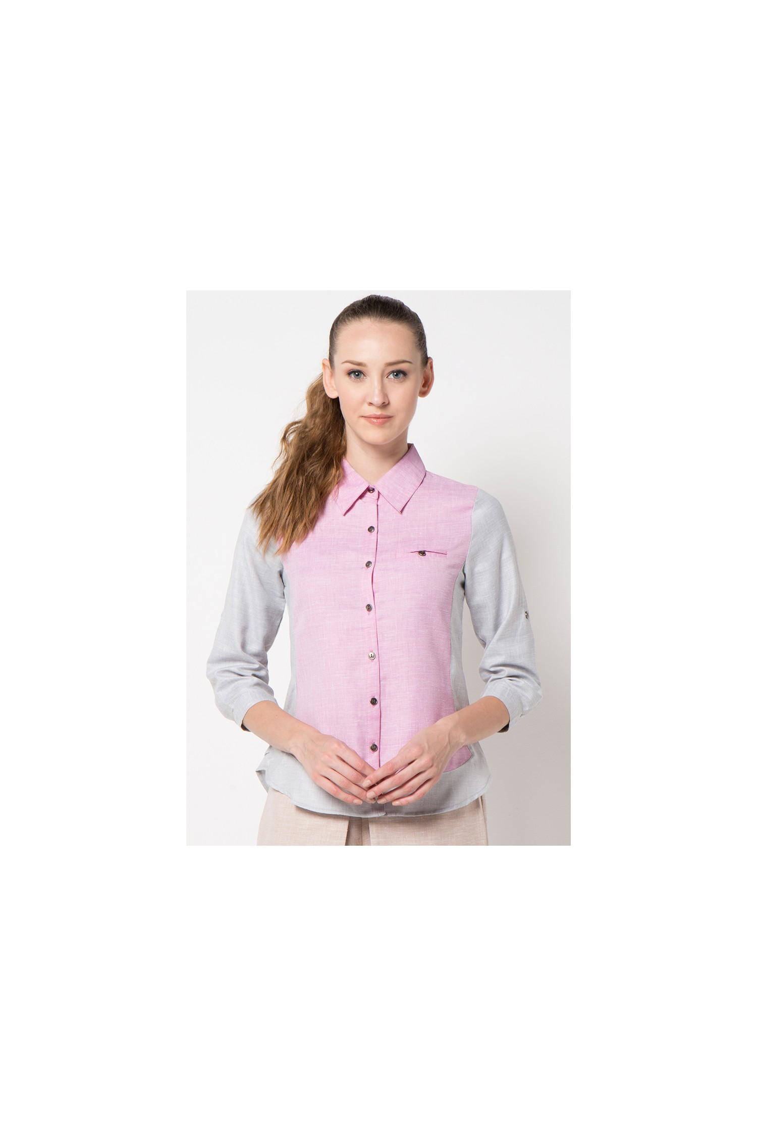 4096c3cf2a5c61 Tea Blouse in Pink and Grey - So phis tiX