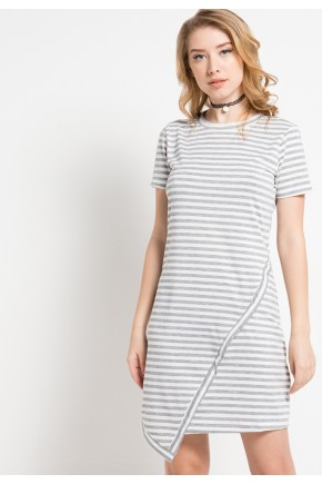 Elis Striped Knit Asymmetrical Dress in Grey-White