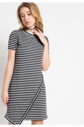 Elis Striped Knit Asymmetrical Dress in Black-Grey