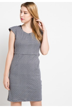 Vega Knit Dress in White-Black