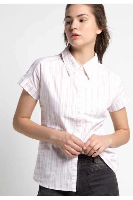 Tabia Shirt in Pink White