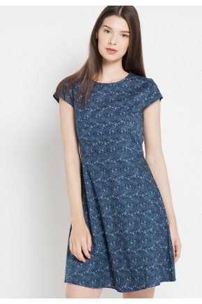 Mattie Dress in Blue Print