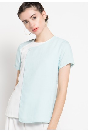 Ronna Blouse in Blue and Off White