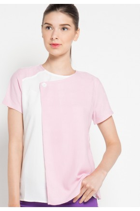 Ronna Blouse in Pink and Off White