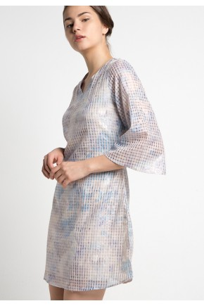 Thame Dress in Blue and Cream