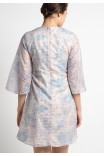 Thame Dress in Blue and Cream Print