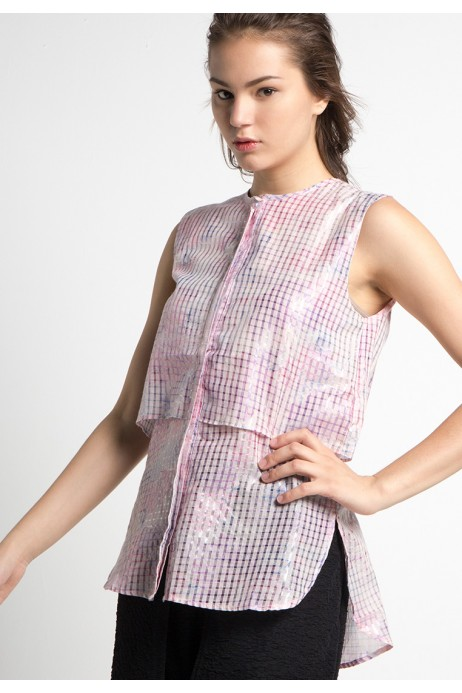 Onbee Blouse in Pink and Cream