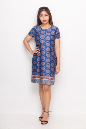 Livia Dress Batik Print In Blue