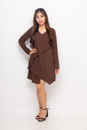Metha Assymetrical Dress In Brown