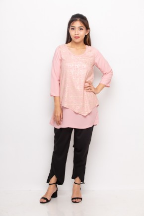 Nawa Blouse Print In Pink & Gold