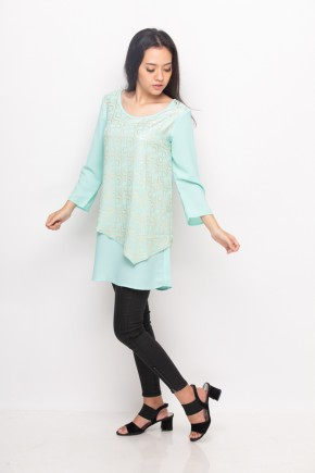 Nawa Blouse Print In Green & Gold