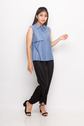 Noir Denim Blouse In Blue