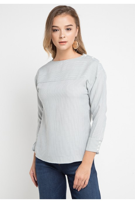 Adley Striped Blouse In Grey
