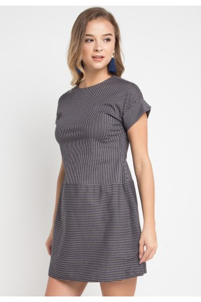 Livia Dress in Black White Stripe