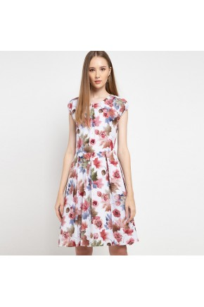 Eliza Dress In Off White Peach Rose Floral Print