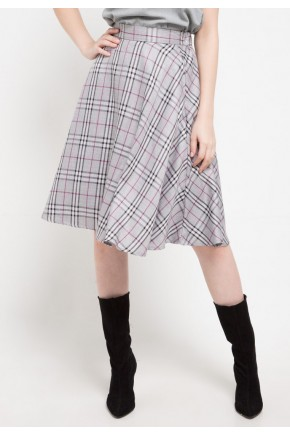 Hally Skirt In Light Grey Chequered Print