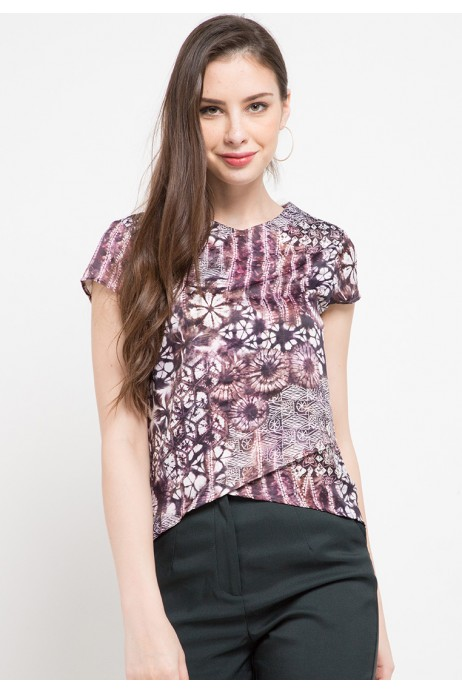 Plume Assymertical Blouse In Brown Print