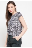 Plume Assymertical Blouse In Black Print