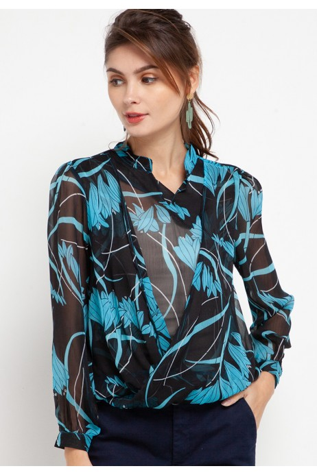 Tiana Blouse in Blue Print
