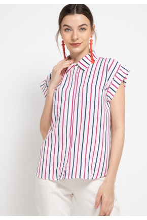 Leenda Blouse in Pink Stripes