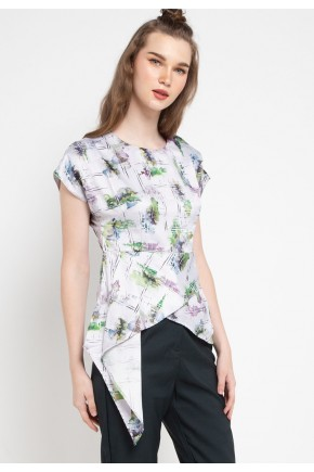 Sophistix Luca Blouse in Green Print