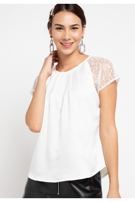 Accra Blouse With Lace In OffWhite