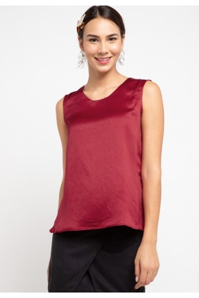 Sharin Blouse With Lace In Maroon